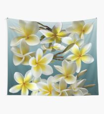Plumeria on Blue Wall Tapestry