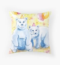 Birthday Bears | Whimsical Cute Animal Party Throw Pillow