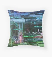 Krayola Section Green/Cyan Throw Pillow