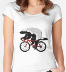 Honey Badger On A Bicycle Women's Fitted Scoop T-Shirt