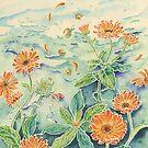 Marine Marigolds (watercolour on paper) by Lynne Henderson