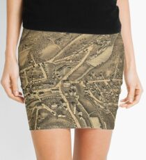 Vintage Map of Stafford Springs CT (1878) Mini Skirt
