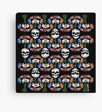 Floral Skull Pattern Design Black Background Canvas Print