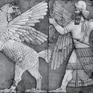 Chaos Monster and Sun God, Sumerian religion, palace relief, Nineveh. by TOMSREDBUBBLE