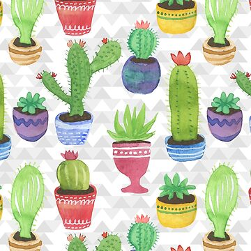 Watercolor Pattern of Cactus and Succulents by latheandquill