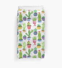 Watercolor Pattern of Cactus and Succulents Duvet Cover