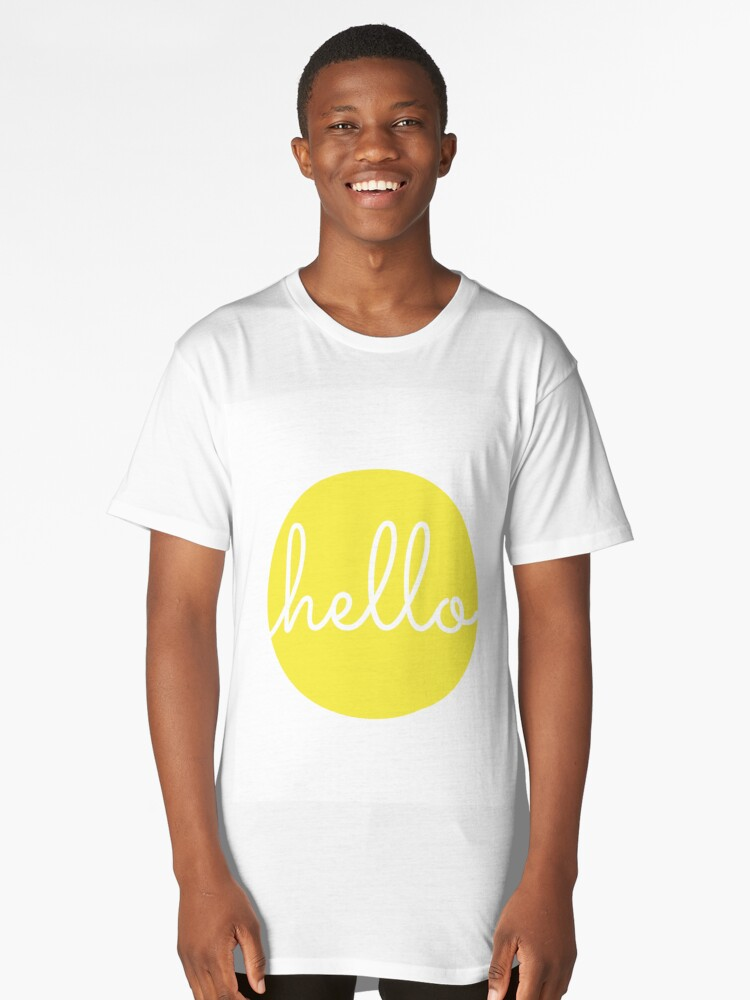 'Hello Yellow Minimalist Dot Modern Cursive Font Design' Long T-Shirt by  DesIndie