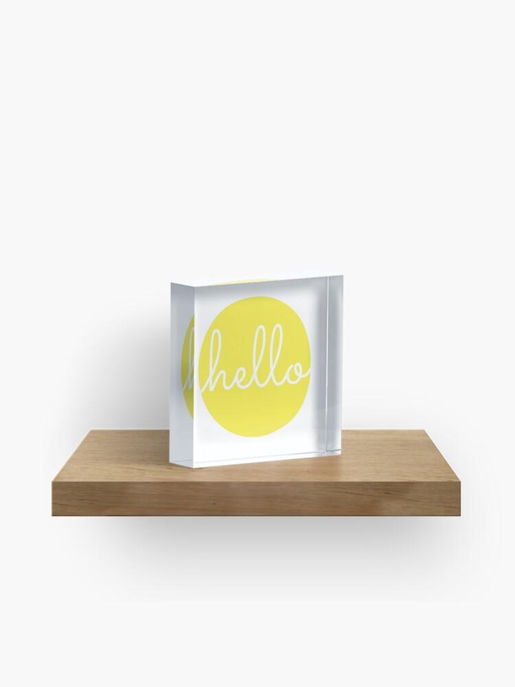 Hello Yellow Minimalist Dot Modern Cursive Font Design | Acrylic Block