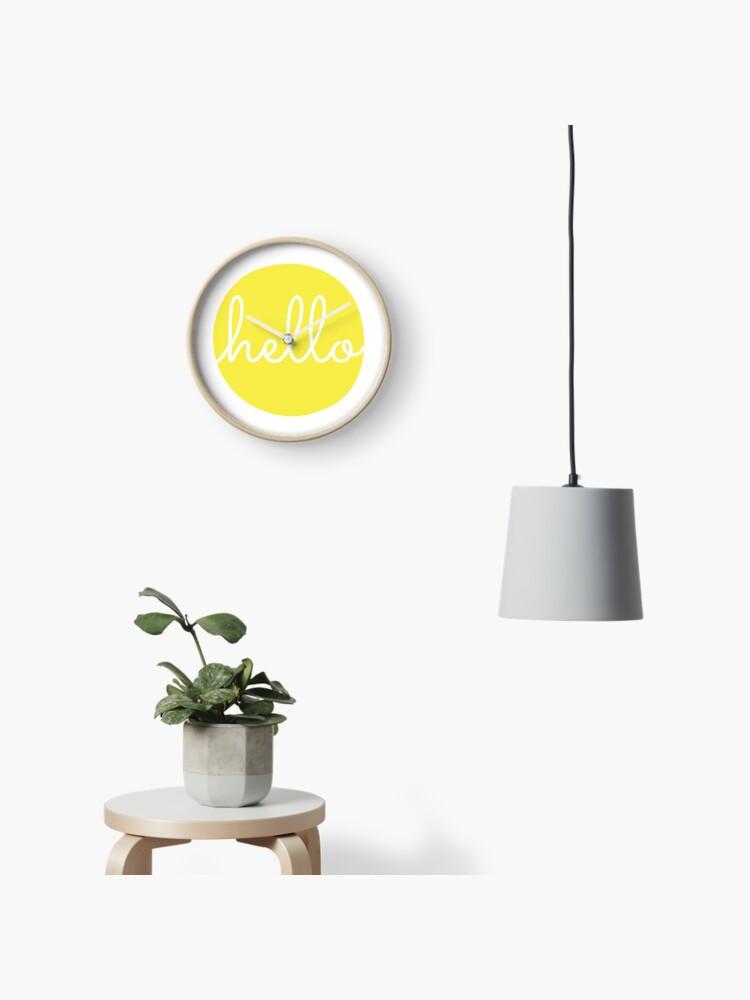 Hello Yellow Minimalist Dot Modern Cursive Font Design | Clock