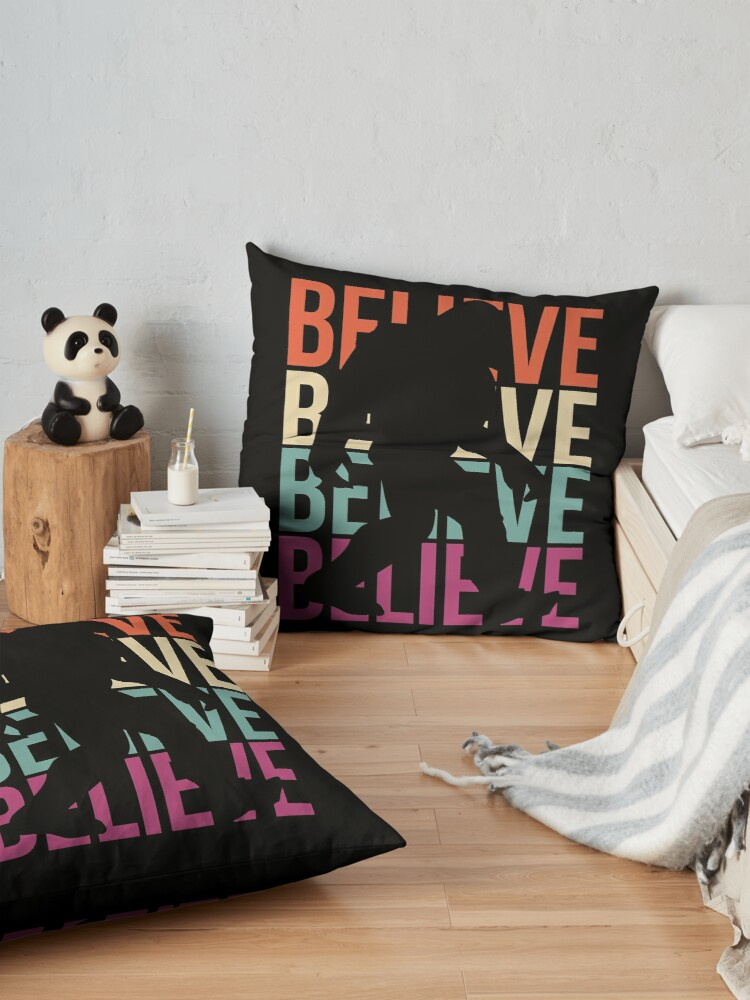 Alternate view of Bigfoot T-shirt I Believe Bigfoot Sasquatch Yeti Funny Shirt Floor Pillow