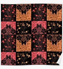 Patchwork seamless lace retro floral hearts Poster