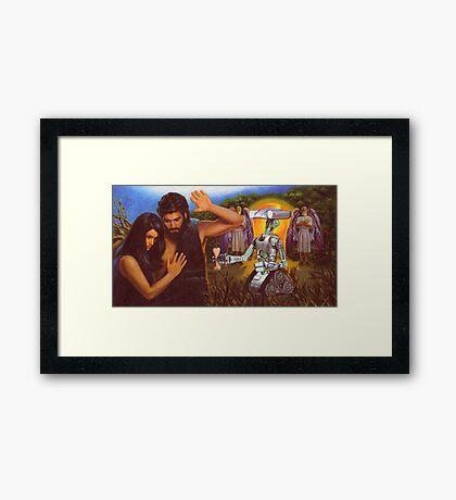 M Blackwell - Adam and Eve Refuse the Robot's Dog-Bone Framed Print