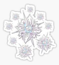 Whimsical Skull Flower Snowflake  Sticker
