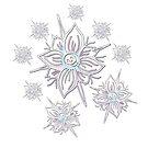 Whimsical Skull Flower Snowflake  by GroglioArt