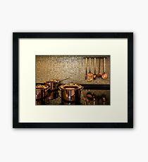 golden luxury kitchen cookware Framed Print