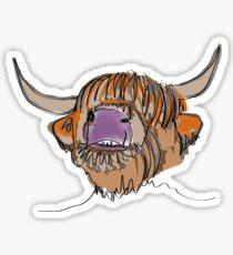 Highland cow oneliner  Sticker