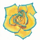 Yellow and Turquoise Rose by -LAM-
