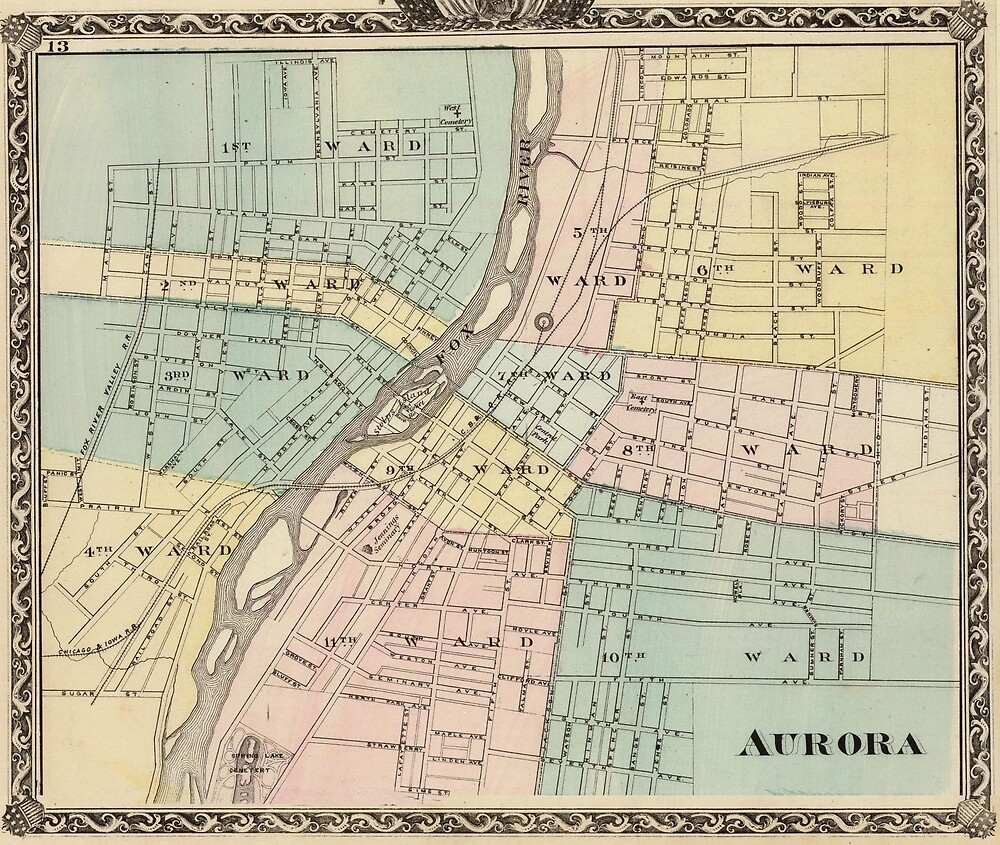 Vintage Map Of Aurora Il 1876 By Bravuramedia Redbubble
