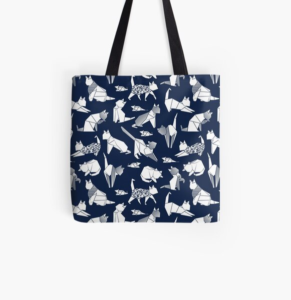 Origami kitten friends // blue navy background paper cats All Over Print Tote Bag