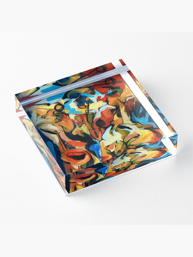 Alternate view of Abstract Musicians Painting Acrylic Block