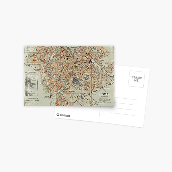Vintage Map of Rome Italy (1911) Postcard