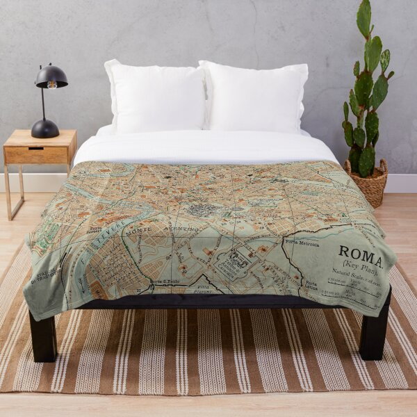Vintage Map of Rome Italy (1911) Throw Blanket