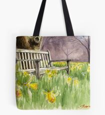 Bench in daffodils  Tote Bag