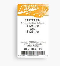 Autopia Fastpass Canvas Print