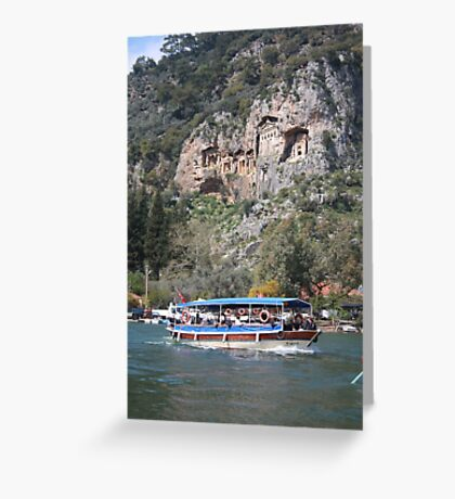 Quintessentially Dalyan: River Boats and Rock Tombs Greeting Card