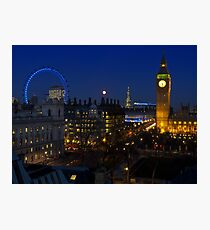 London eye and Big Ben by night, London, England Photographic Print