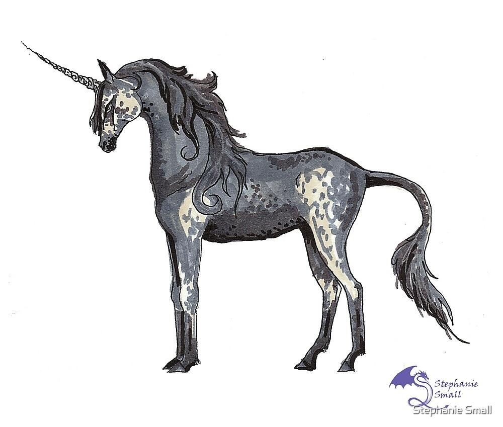 Black Dappled Unicorn Horse Pony Western Country  by Stephanie Small