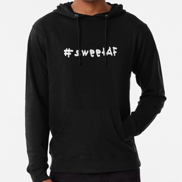 #sweetAF - White Text Lightweight Hoodie