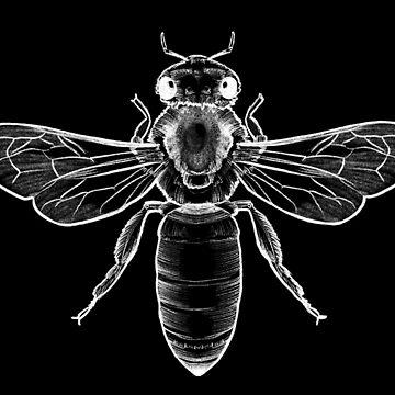 Black and White Honey Bee Dark by nykiway
