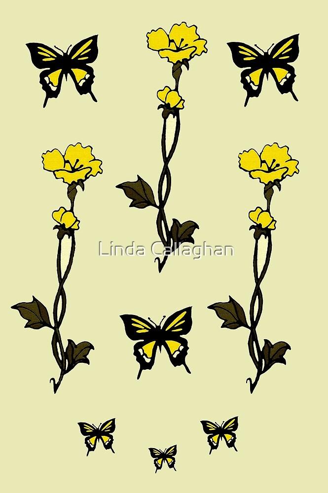 Yellow Butterflies & Flowers - Art Nouveau   by Linda Callaghan