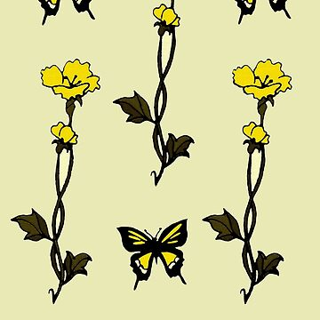 Yellow Butterflies & Flowers - Art Nouveau   by LindArt1