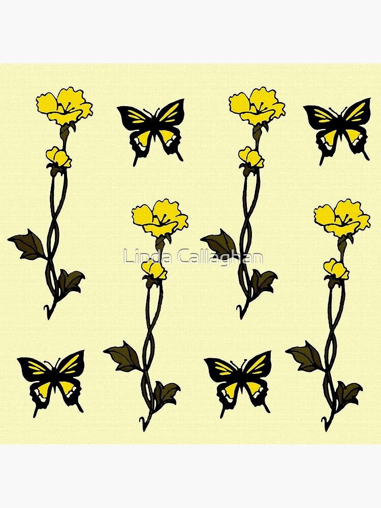 Yellow Butterflies & Flowers - Art Nouveau   by LindArt1