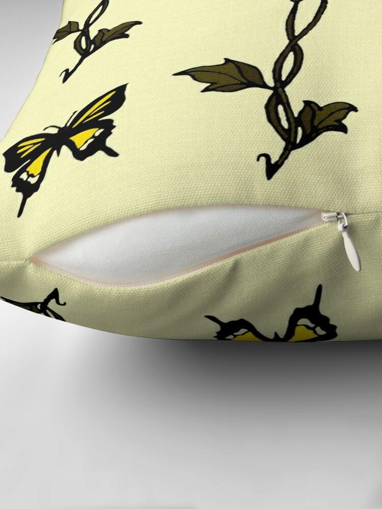 Alternate view of Yellow Butterflies & Flowers - Art Nouveau   Floor Pillow
