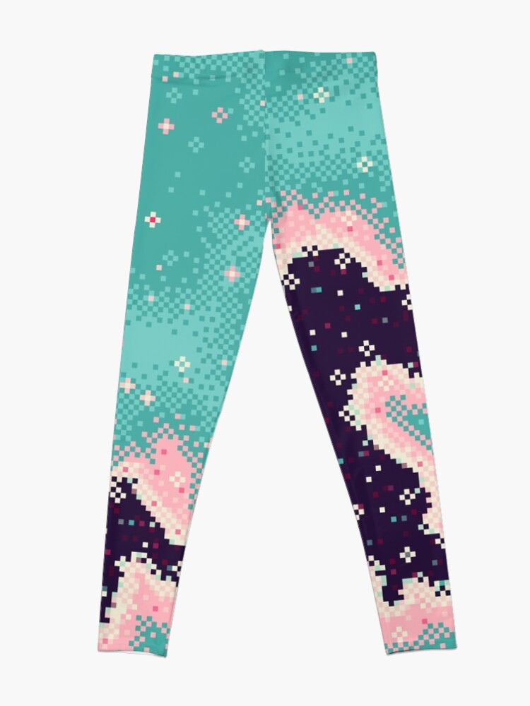 Alternate view of Pink and Mint Rift Galaxy Leggings