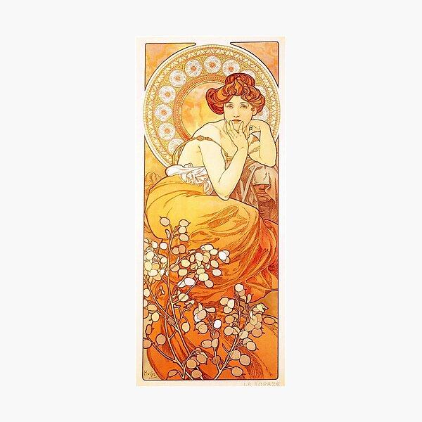Vintage Alphonse Mucha - Topaz -  c1900 Art Nouveau Photographic Print
