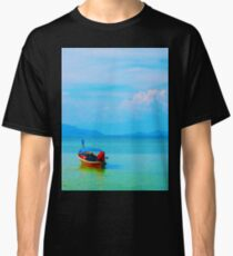 boat in peaceful sea and blue sky Classic T-Shirt