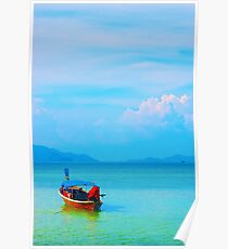 boat in peaceful sea and blue sky Poster