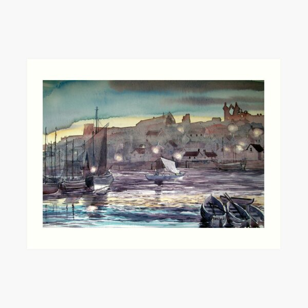 """""""Whitby Harbour at Twilight"""" Art Print"""