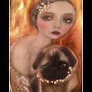 Flapper Girl Vintage Pug Art by Loulieart