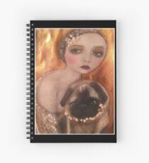 Flapper Girl Vintage Pug Art Spiral Notebook