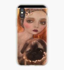 Flapper Girl Vintage Pug Art iPhone Case