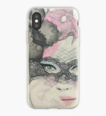Masquerade Fantasy Pink and Black Mask Woman iPhone Case