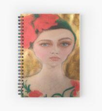 Vintage Red and Gold Flower Girl Fashion Portrait Spiral Notebook