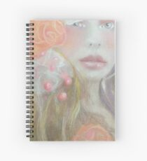 Romantic Peach and Pink and Orange Flower Fantasy Girl Spiral Notebook