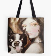 Famke Boston Terrier Fantasy Surreal Art Portrait Tote Bag