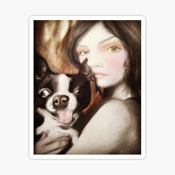 Famke Boston Terrier Fantasy Surreal Art Portrait Sticker